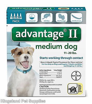 Advantage II for Medium Dogs (11 - 20 lbs, 4 Month Supply) USA EPA Approved