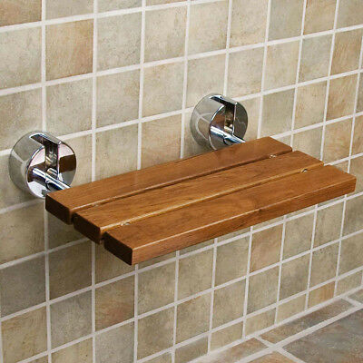 "Clevr 20"" Teak Modern Folding Shower Seat Bench Dark Wood Medical Wall Mount"