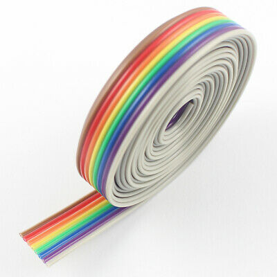 10M / 32.8Ft 1.27mm Pitch 8 Pin 8 Wire Conductor Rainbow Color IDC Ribbon Cable