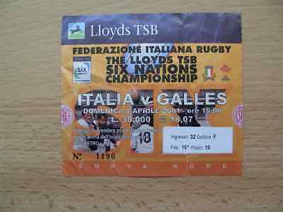 Italy v Wales 2001 Used Rugby Ticket