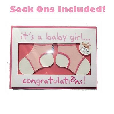 Sock Ons Pink Baby Gift Card Congratulations Baby Shower For Girl Incs Sock Ons!