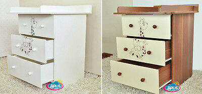 Chest of drawers with changing table / model MIKI / color white or walnut+cream