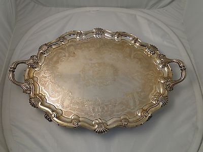 Large Tray Silver Plated Circa 1840 Antique, Beautifully Engraved Old Sheffield