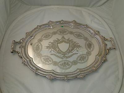 LARGE TRAY SILVER PLATED CIRCA 1860 ANTIQUE, BEAUTIFULLY ENGRAVED PIERCED BORDER