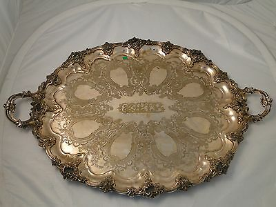 LARGE TRAY SILVER PLATED C-1860 ANTIQUE ENGRAVED CHASED PIERCED BORDER & HANDLES