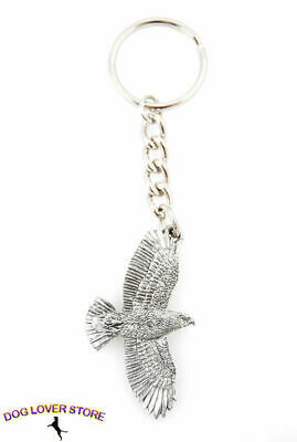 Redtail Hawk Flying Bird Fine Pewter Silver Keychain Key Chain Ring