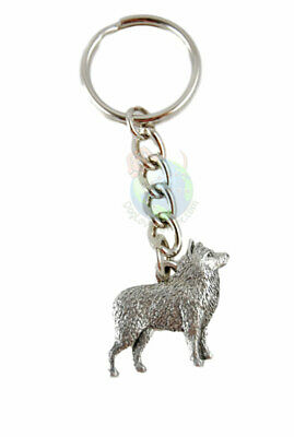 Schipperke Dog Fine Pewter Silver Keychain Key Chain Ring