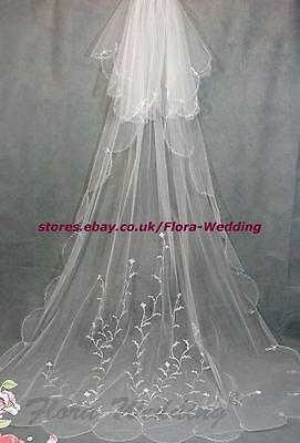 "2-Tier 95""L Chapel/Cathedral Long Trailing Bridal Wedding VEIL,Embroidery Design"