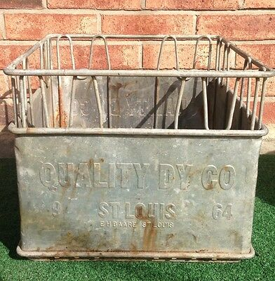 Vintage Quality Dairy Co Metal Crate St.Louis  Great Piece !!