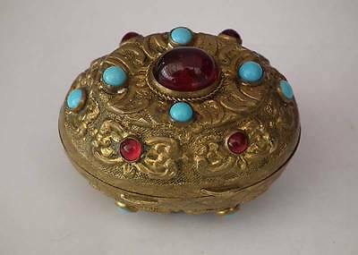 Antique Islamic Turkish Ottoman Jeweled Tombak Gilt Copper Alloy Snuf box
