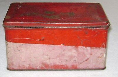Antique Tin Canister Box Red & White with Hinged Lid Crudely Marked Soup Beans