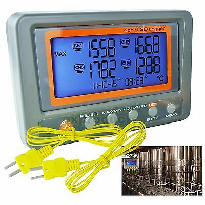 Thermocouple Thermometer K-Type 4 Channel SD Card Logger °C °F Beep & LED Alarm