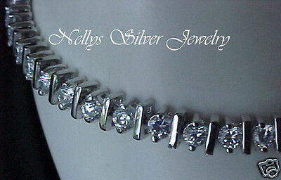 8 inch 4.80ctTW Signity CZ Brilliant cut rounds Rhodium 925 Sterling Bracelet