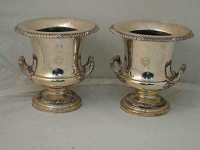 Beautiful Pair Of Coolers Silver Plated Old Sheffield 1800 Antique Crested Clean