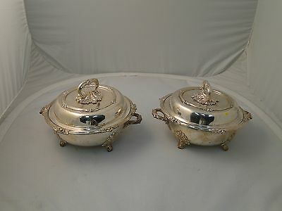 Pair Of Entree Dishes Silver Plated Beautiful Cast Acorn Style Feet 1860 French