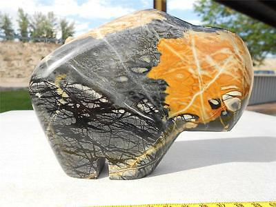 Amazing Colors! Utah Picasso Marble Jasper Carved and Polished Bison/Buffalo