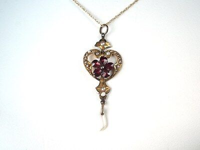 Vintage 10kt Yellow Gold Garnet Seed Pearl Floral Pendant /Necklace
