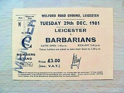 Leicester v Barbarians 1981 Used Rugby Ticket