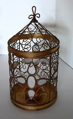Bird House Tealight Candle Holder Scrolled Wire Ornate Cross Golden Copper Decor