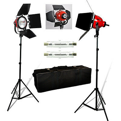 2 x 800W Redhead Continuous Lighting Video Studio Red Head Light Stand Kit