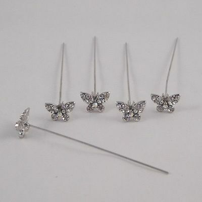 Faux diamond diamante Butterfly pins x 5 Clear Diamond
