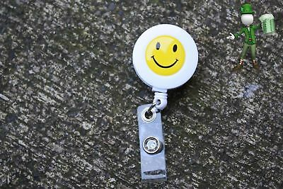 SMILEY FACE Retractable Reel ID Badge Holder/Key Card Chain /Security
