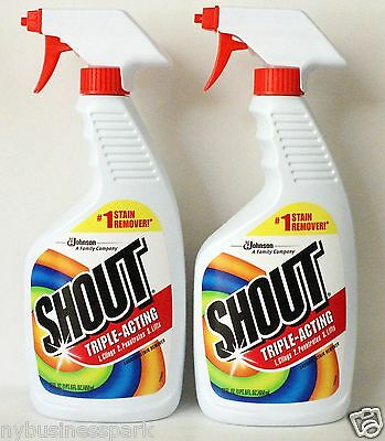 2 Shout Triple Acting Laundry Stain Remover Clings Penetrates Lifts 22 oz. each