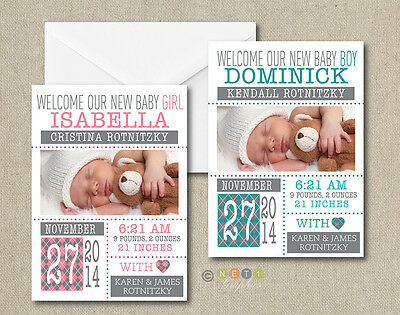 25 Personalized Modern Style Photo Birth Announcements with Envelopes