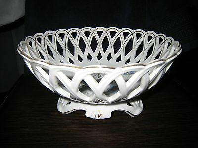 """ANTIQUE PORCELAIN FRUIT BOWL - PIERCED & FOOTED - 9"""" wide x 4"""" tall"""