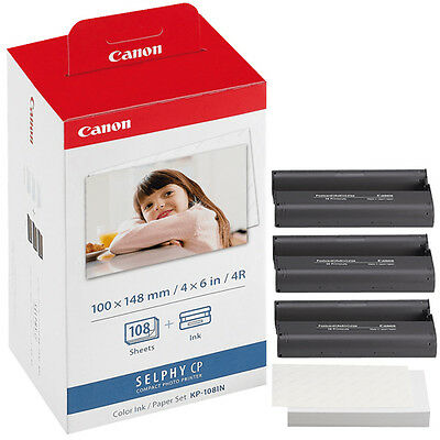 Genuine CANON KP-108IN Photo Printer Ink/Paper Set for SELPHY CP1200 910 900 820