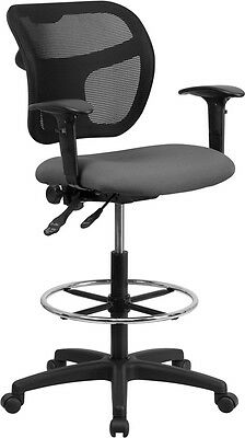 Flash Furniture Mid-Back Mesh Drafting Chair with Gray Fabric Seat and...