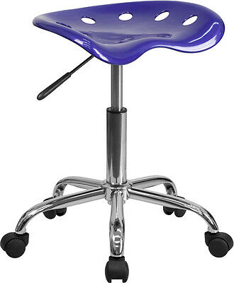 Flash Furniture Vibrant Deep Blue Tractor Seat and Chrome Stool
