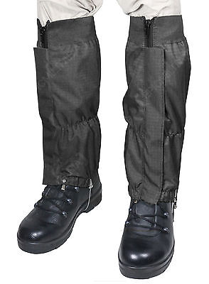 Military WATERPROOF RIPSTOP Hiking Walking GAITERS - Black - Heavy Duty Outdoor