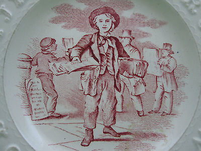 Antique English Staffordshire Pink Transferware Childs ABC plate, The News Boy