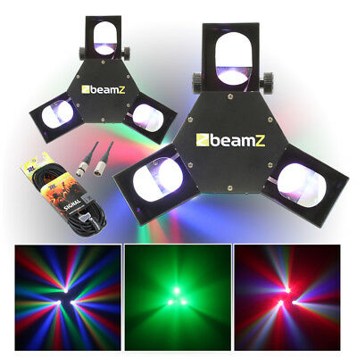 2x Tri Lamp Mirror Scanner Disco Lights + 2x DMX Cables Party DJ Lighting
