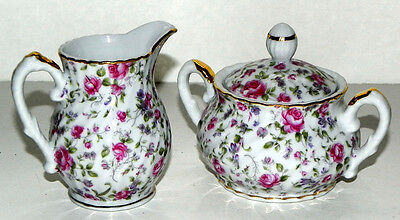 BEAUTIFUL LEFTON CHINA ROSE CHINTZ CREAMER & SUGAR BOWL #7237 vFINE COND