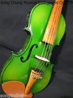 Perfect Green colour new 5 strings 4/4 electric violin +Acoustic violin #8213