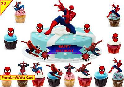 SPIDERMAN Cup Cake Scene Birthday Decorations Toppers Edible STAND UP Decoration