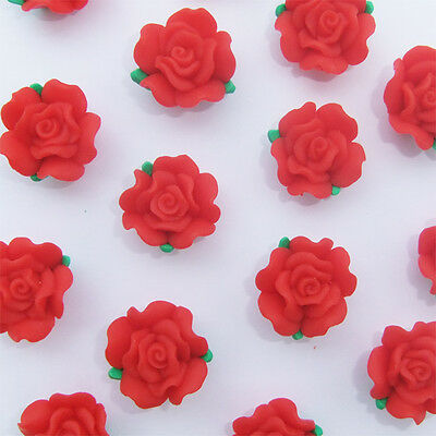 8 x Red  Polymer Clay Flower Beads - 19- 20mm x 12mm