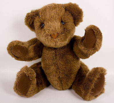 "Douglas Co Cuddle Toys Teddy Bear 14"" Plush Brown Jointed Stuffed Animal Vintage"