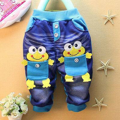 Fashion Baby Kid Boys Girls Frog Double Pocket Rubber Flexible Pants 7-24 Months