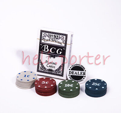 Poker Set with 1 Packs Cards and 24 Chips with Dealer Button *BRAND NEW*