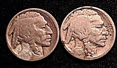 1913 P Type 1 And Type 2 Indian Head Buffalo Nickels  VG/F Details Treated Date