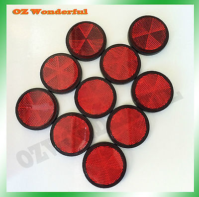 10pc Red Round Reflector Marker Truck Car Trailer Reflector Caravan SelfAdhesive
