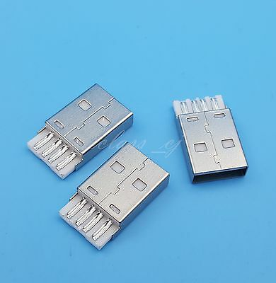 10Pcs USB Type A Male 4Pin Wire Soldering Connectors for DIY