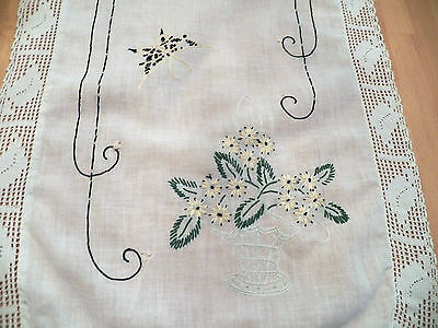"Vintage Embroidered Linen Runner 14""x40""- Lacy Crocheted Edges-Floral Baskets"