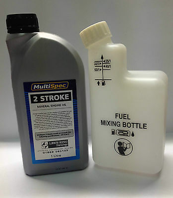2 Stroke Engine Oil 1 Ltr & Fuel Mixer Bottle ideal for Lawnflite strimmers