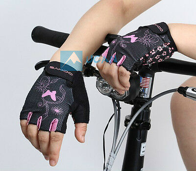 Women Bike Bicycle Cycling Half Finger Gloves Mesh Pink Butterfly Flower Sports