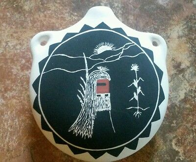 Pueblo Pottery Acoma NM Canteen Handmade Handpainted Signed A. Romero