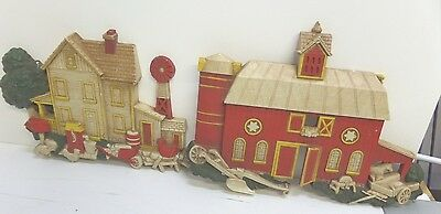 """Set of 2 Vintage HOMCO Wall plaques Farm House & Barn Country 7369 7"""" tall"""